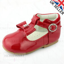 0904da70b4a8 BABY GIRLS SPANISH STYLE SHOES T-BAR BOW DIAMANTE PINK WHITE CAMEL RED BLACK