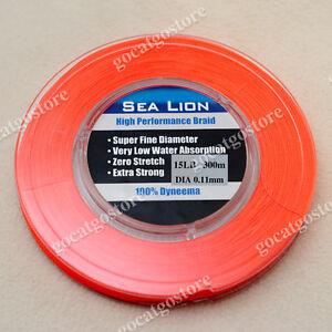 NEW-Sea-Lion-100-Dyneema-Spectra-Braid-Fishing-Line-300M-15lb-Orange