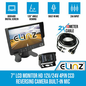 "7"" LCD Monitor HD 12V/24V 4PIN CCD Reversing Camera Rearview Built-in Mic BLACK"