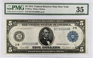 1914 PMG $5 Federal Reserve Large Note New York Choice VF35 FR#851a