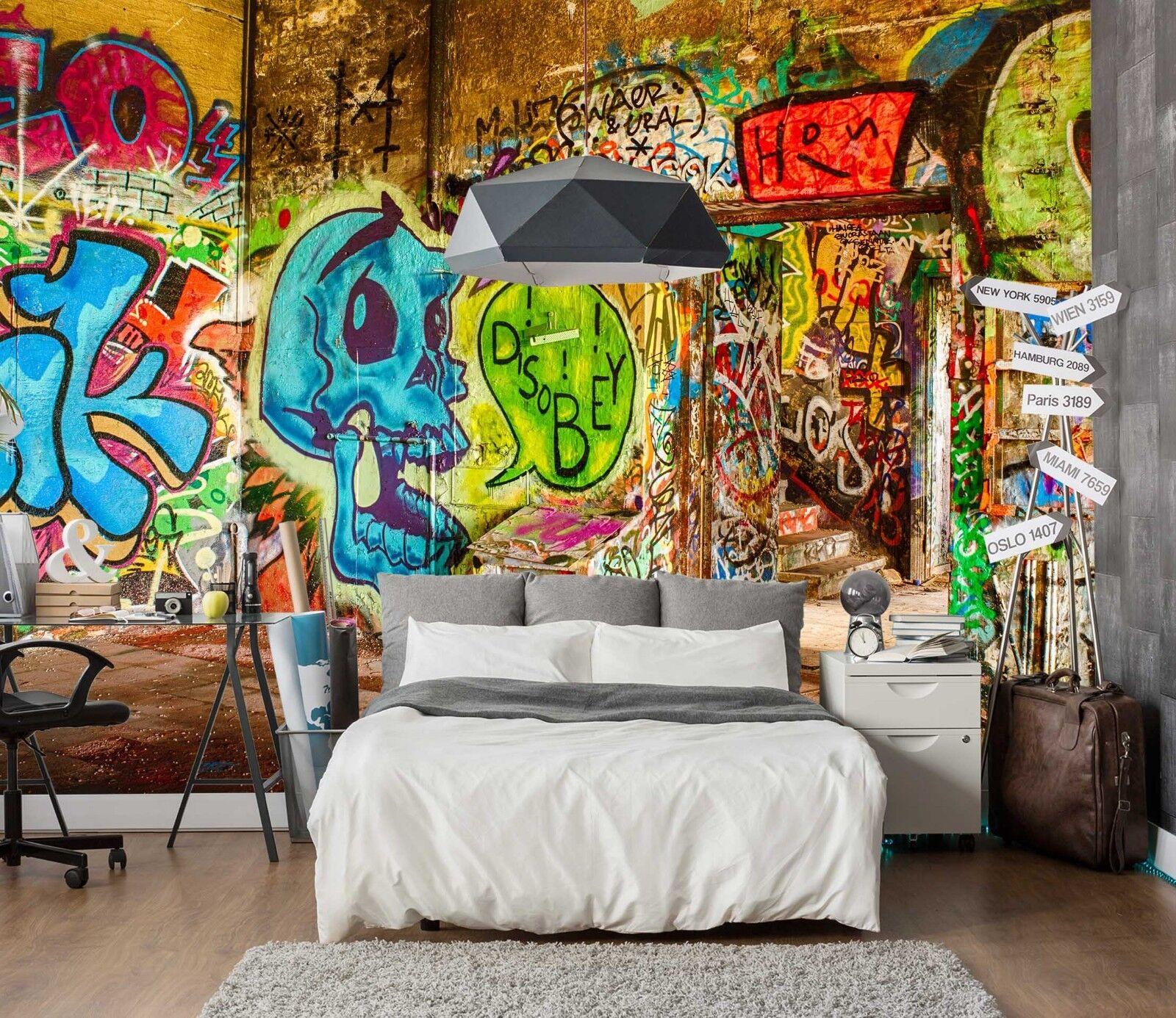 3D bluee Graffiti 75 Wall Paper Murals Wall Print Wall Wallpaper Mural AU Summer