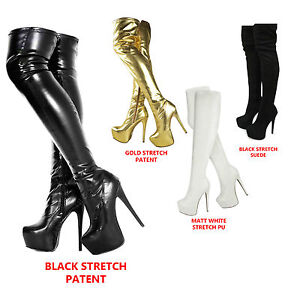 LADIES WOMENS OVER KNEE THIGH HIGH HEEL STRETCH SUEDE LEATHER ...