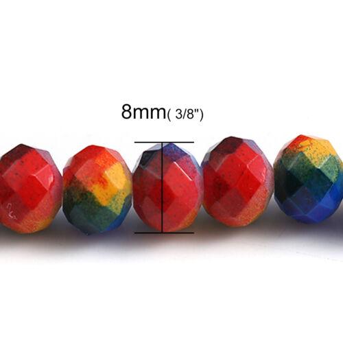 50 hermosas facetas Multicolor Cuentas De Vidrio De Alta Calidad 8mm impresionante