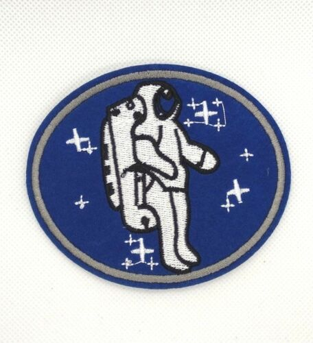 round Iron On Embroidered Applique Patch Outer Space Astronaut 166