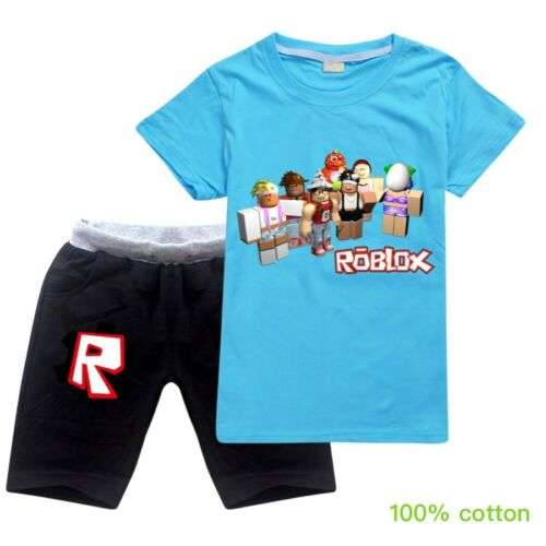 ROBLOX Kids Children Casual Sportwear Tracksuit Short Sleeve T-Shirt+Short 2PCS