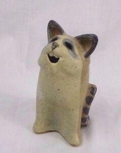 Vtg Stoneware Cat Kitten Figurine Signed '96 XY