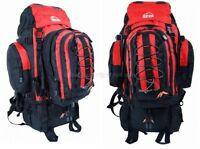 Camping Rucksack Backpack Hiking Detachable Day Back Pack Bag Red Large 50l