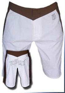 NEW-Nogi-OE-Shorts-White-amp-Brown-Jiu-Jitsu-BJJ-MMA-UFC-Martial-Arts-RARE