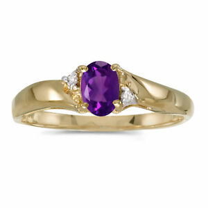 14k-Yellow-Gold-Oval-Amethyst-And-Diamond-Ring