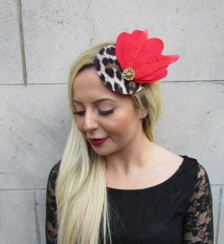 Red Gold Black Leopard Animal Print Small Pillbox Hat Fascinator Hair Clip 6523