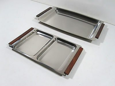 Danish Serving Tray Stainless Steel And Teak Vintage