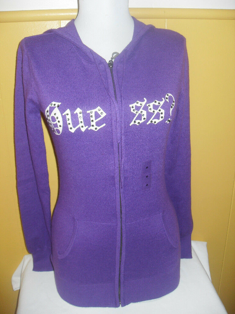 NWT GUESS ROYAL PURPLE ZIP FRONT SWEATER W  RHINESTONES