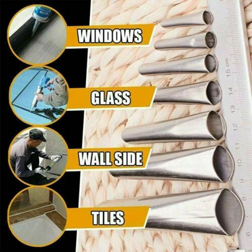 Details about  /14pcs FINISHER-Caulking-Nozzle-Kitchen-Push-Rod-Stainless-Steel-Applicator-Tool