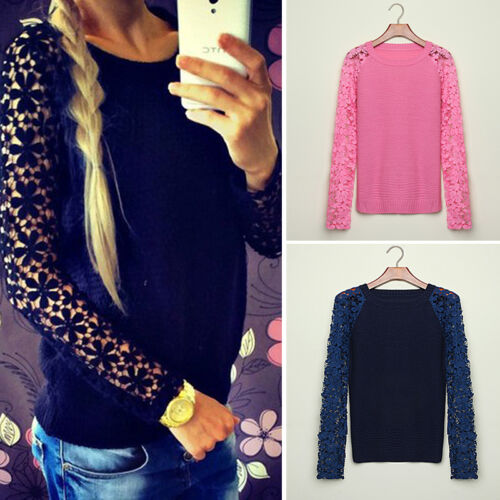 Lace Hollow Long Sleeve Sweater Pullover Knit Women Top Jumper Knitted New 2015