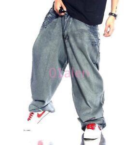Hiphop Para Hombre Street Dance Suelto Jeans Pantalones Jeans Skateboarding Pantalon Pierna Ancha Ebay