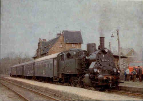 Güterzug Tender-Lokomotive Eisenbahn Motiv-Postkarte DDR Heimatbahnhof Merseburg