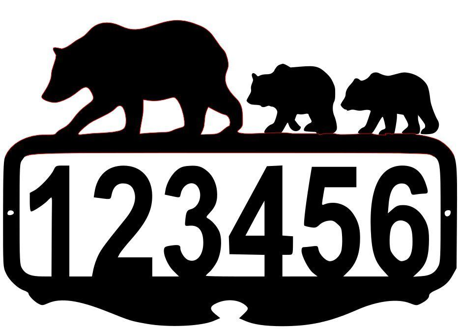 BIG House Number Plaque, Metal Sign, Cabin, Address Sign, Bear  5