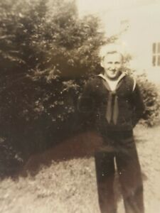WWII Photo U.S. Navy Handsome Seaman Posing in Uniform Vintage Military B&W