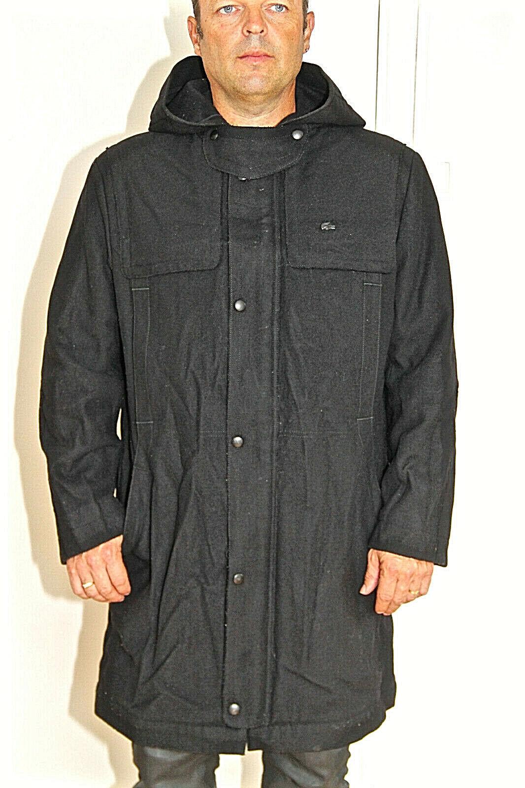 Joli manteau laine blacke à capuche hiver homme LACOSTE DEVANLAY size 50 4