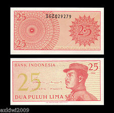 Indonesia 25 Sen Replacement 1964 P-93  Mint UNC Uncirculated Banknotes