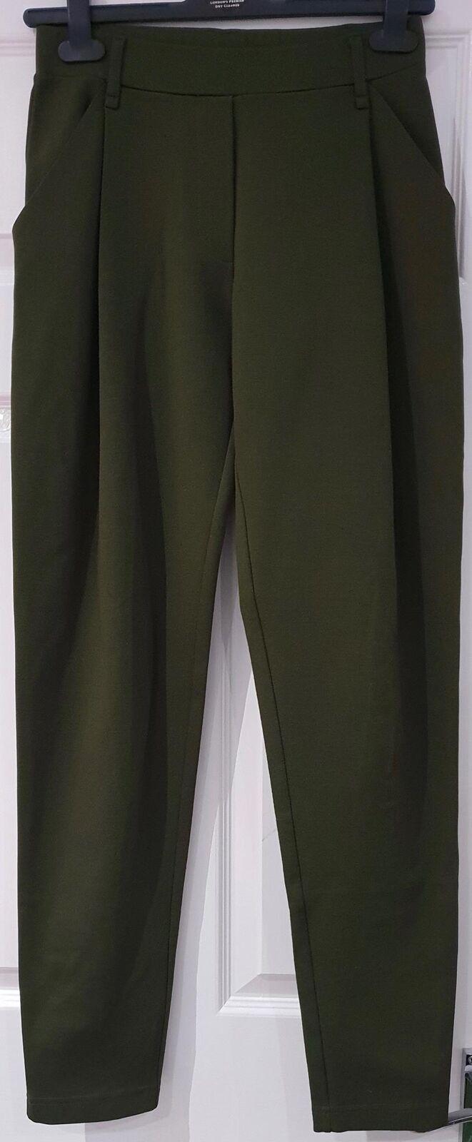 SUD Women's Olive Green Elasticated Waist Tapered Slim Leg Trousers Pants 40 UK8