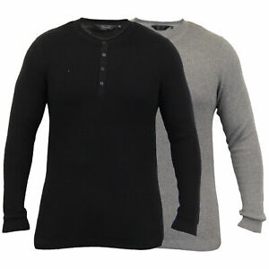 Mens-Grandad-Jumpers-Dissident-Knitted-Ribbed-Top-Lightweight-Casual-Winter-New