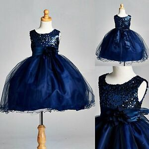 Navy blue sequence dress flower girl pageant holiday for Navy dress for fall wedding