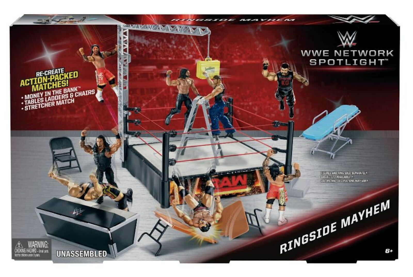 Réseau WWE Spotlumière sacueside  MAYHEM jeu TRU EXCLUSIVE Speaker table MITB  design unique