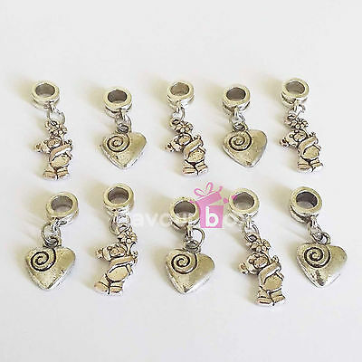 10x Heart Bear Dangle Charms Thank You Favour Box Wedding Baby Shower Decoration