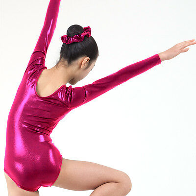 KYoon's Gymnastics Leotard New Solid Foil 4way Long Sleeve Child Adult Redpink