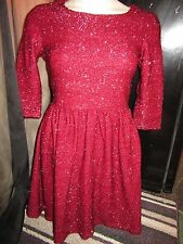BNWT Red Chilli Dress UK 6 Wine Red Metallic Fluffy Tinsel 3/4 Sleeves Party