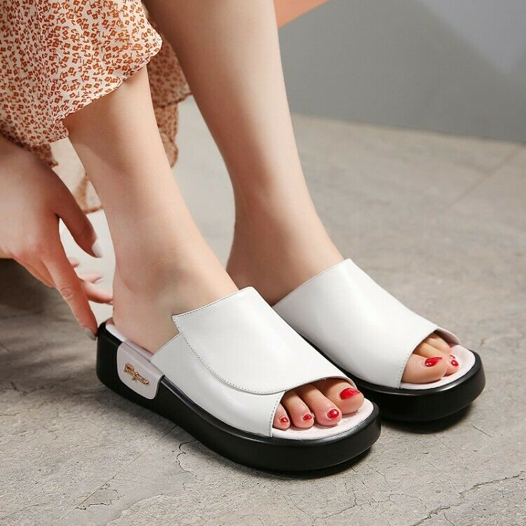 2019 New Women Sandal Open Toe Platform Creepers Backless Leather Leisure shoes