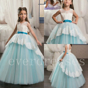 Blue Flower Girl Kid Pageant Communion Formal Party Wedding Bridesmaid Dress New