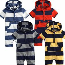 "Vaenait Baby Newborn Girls boys One piece Bodysuit Outfit ""Hoodie Stripe"" 3-18M"