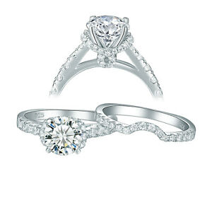 Sterling Silver Custom Engagement Ring Wedding Band Bridal Set CZ Sizes 5-10