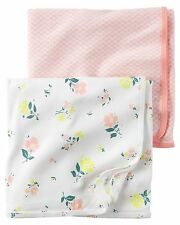 Carter's 2pk Baby Girl Floral Wrap Swaddle Blanket Newborn Infant Cotton NEW $24
