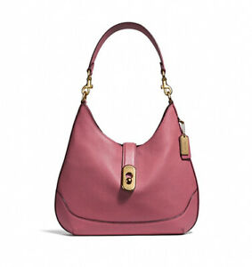 NWT-COACH-Amber-Hobo-Shoulder-Bag-Purse-Buckle-Pink-Strawberry-Gold-F48635