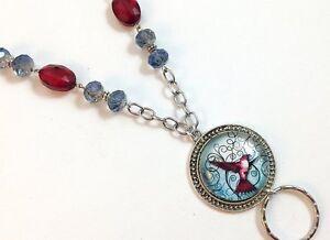 Ruby-Hummingbird-Lanyard-Beaded-Badge-Holder-Chain-Lanyard-Breakaway-option