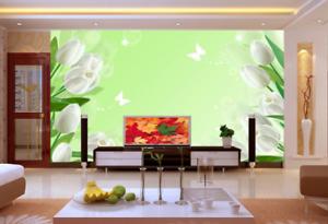 3D White Tulips 87 Wall Paper Murals Wall Print Wall Wallpaper Mural AU Kyra