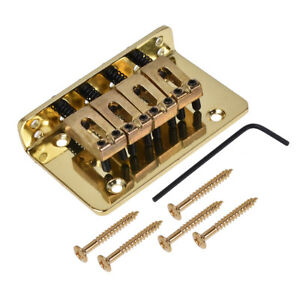 4-String-Bass-Bridge-for-Cigar-Box-Guitar-Electric-Ukulele-Mandolin-Parts-Gold