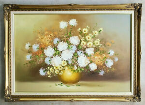 Antique-Original-Oil-Painting-Vintage-Canvas-Floral-Still-Life-Gold-Gilt-Frame