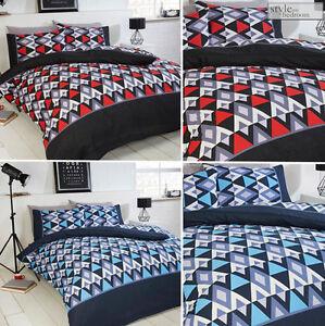 abstrait-geometrique-Zig-Zag-Conrad-imprime-set-COUVRE-LIT-COUETTE