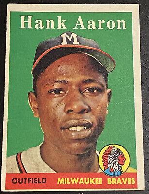 Hank Aaron Card 1958 Topps #30A Milwaukee Braves BGS BCCG 7 Graded Card