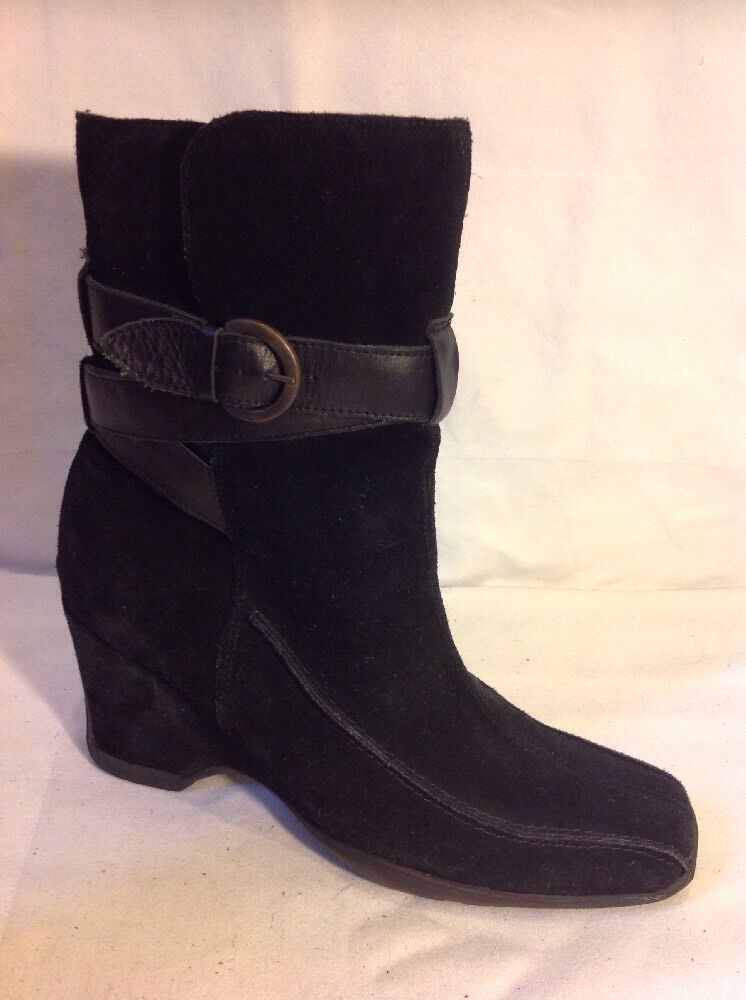 Bertie Black Ankle Suede Boots Size 38