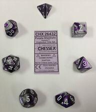 Dice Set: Gemini 2 Poly Purple Steel/White (7) CHESSEX CHX 26432