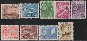 NORTH-BORNEO-1954-QE-II-PICTORIAL-DEFINITIVE-PART-SET-9V-USED