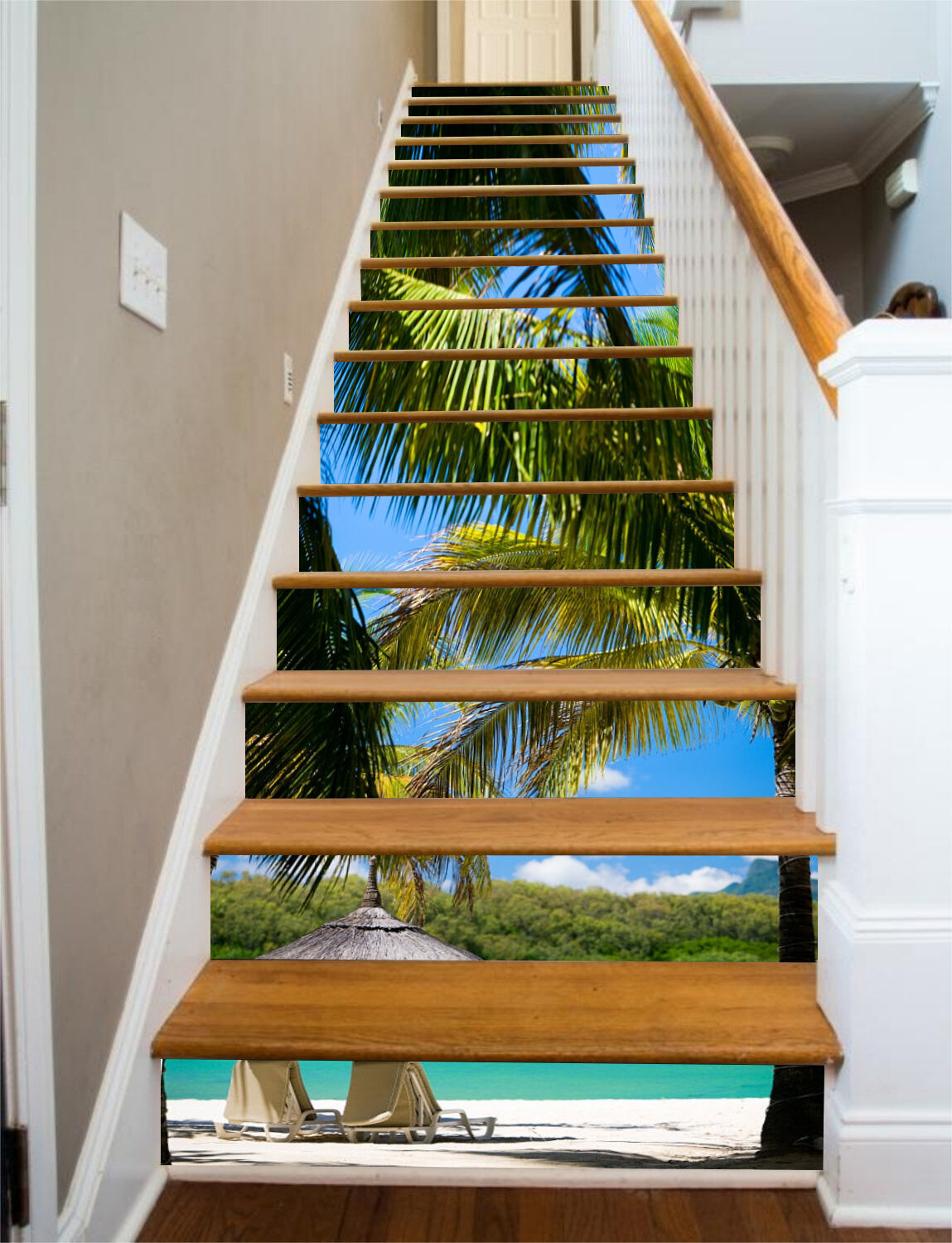 3D Beach Tree 23 Stair Risers Decoration Photo Mural Vinyl Decal Wallpaper UK