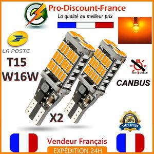 2-x-ampoule-LED-T15-W16W-4014-Orange-CANBUS-ANTI-ERREUR-Voiture-Clignotant