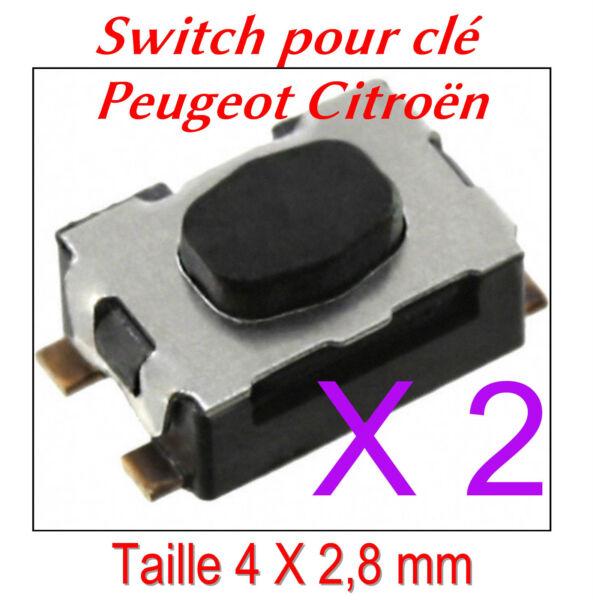 2 Switch Bouton De Clé Pliante Télécommande Plip Peugeot Citroen 207 C4 307 407