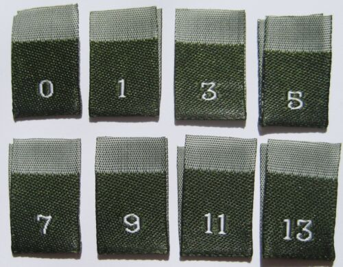 SIZE 0 1 3 5 7 9 11 13 CLOTHING WOVEN GREEN LABELS 250 PCS